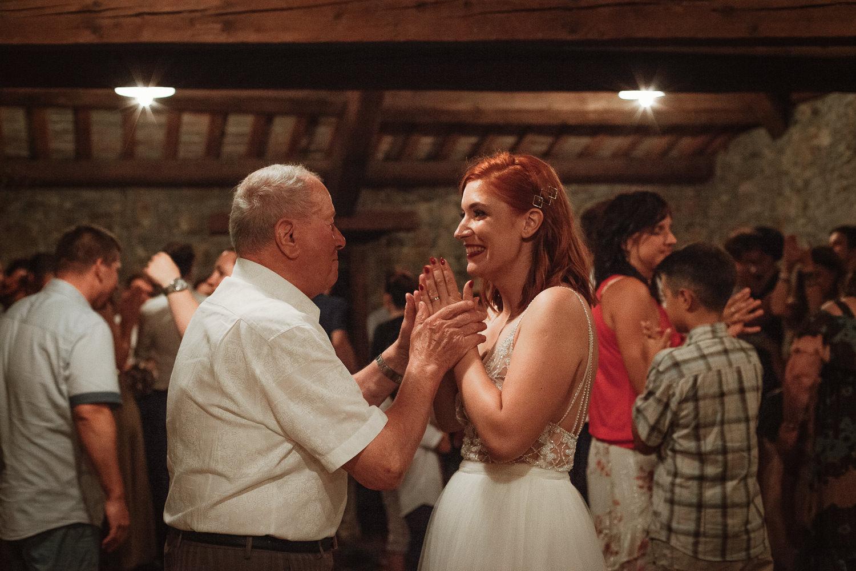 Majerija Vipava Valley vineyard wedding bride with her grandpa