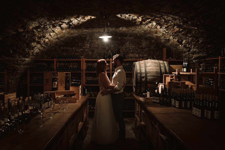 Wedding Majerija Slovenia couple in the wine cellar